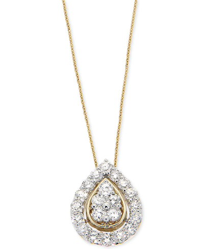 Wrapped in Love Diamond Teardrop Pendant Necklace (1 ct. t.w.) in 14k Gold, Created for Macy's