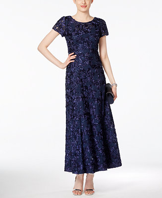 Alex Evenings Petite Rosette Lace A Line Gown Dresses