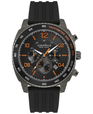 Caravelle New York by Bulova Men's Chronograph Black Silicone Strap Watch 44mm 45B141