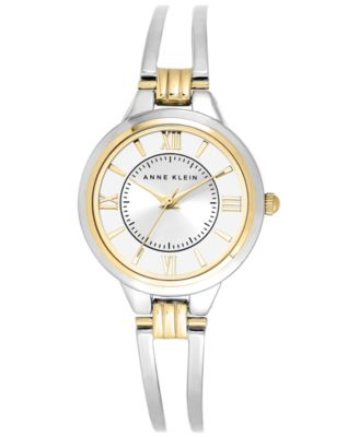 Image of Anne Klein Watch, Women's Two-Tone Bangle Bracelet 29mm AK-1441SVTT