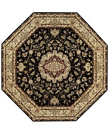 Wool and Silk 2000 2028 Black 10' Octagonal Rug