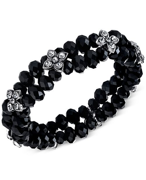 Silver-Tone Black and Crystal Beaded Stretch Bracelet