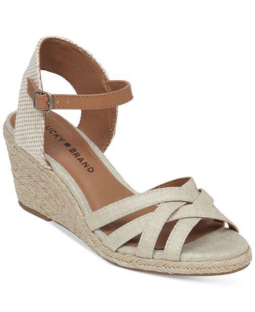 Lucky Brand Women S Kalley Cross Band Wedge Sandals