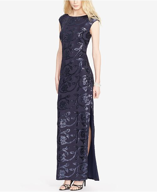 89a0019d7e73 Lauren Ralph Lauren Sequined Floral-Print Gown & Reviews ...