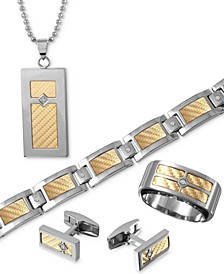Men's Inlay Jewelry in 18k Gold and Stainless Steel