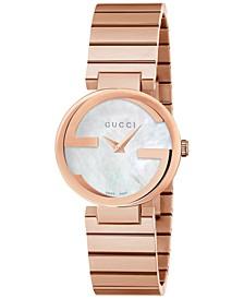 Women's Swiss Interlocking Pink Gold-Tone PVD Stainless Steel Bracelet Watch 29mm YA133515