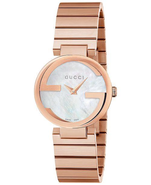 2ec7af6621f ... Gucci Women s Swiss Interlocking Pink Gold-Tone PVD Stainless Steel  Bracelet Watch 29mm YA133515 ...