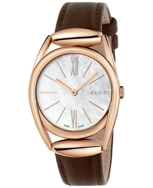 26c54c1200e7 ... Gucci Women s Swiss Horsebit Brown Leather Strap Watch 30mm YA140507 ...