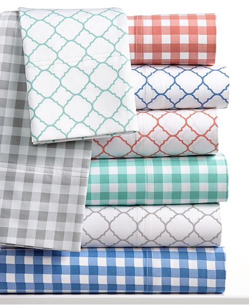 Charter Club CLOSEOUT! 500 Thread Count Printed Wrinkle-Resistant Extra-Deep Sheet Sets, Created for Macy's