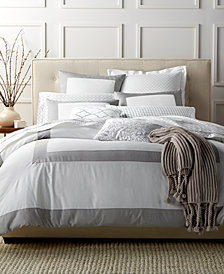 Charter Club Damask Designs Colorblock Dove 3 Piece Duvet Sets, Created for Macy's