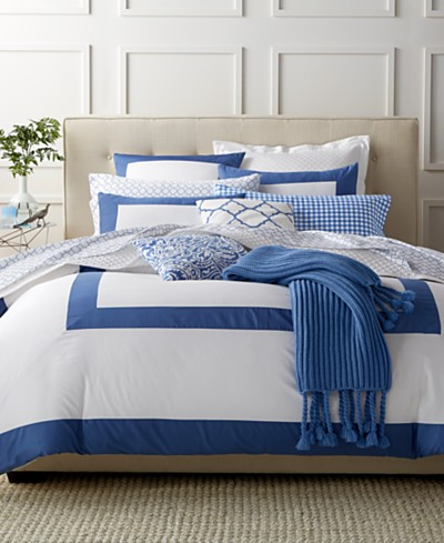 CLOSEOUT! Charter Club Damask Designs Colorblock Denim 3 Piece Duvet Sets, Created for Macy's