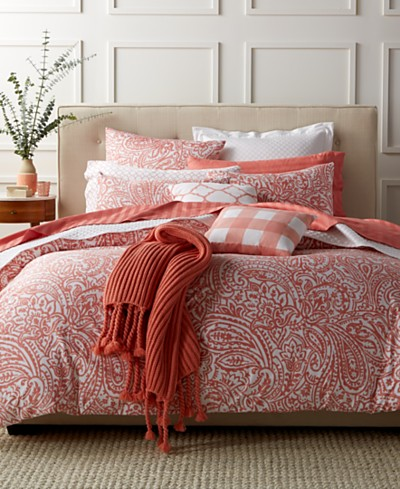CLOSEOUT! Charter Club Damask Designs Paisley Hibiscus 3 Piece Duvet Sets, Created for Macy's
