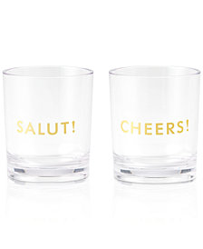 kate spade new york Raise a Glass Collection Here's To You Salut!/Cheers! Acrylic Tumblers, Set Of 2