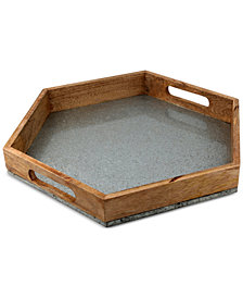 Thirstystone Wood & Galvanized Iron Hexagon Handled Tray