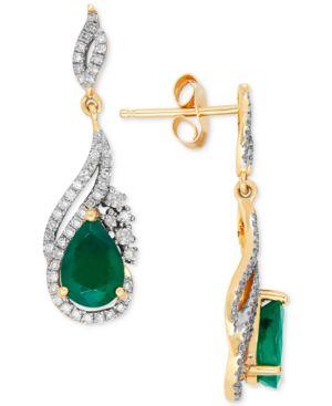 Emerald (2-5/8 ct. t.w.) and Diamond (1/3 ct. t.w.) Drop Earrings in 14k Gold -  Macy's