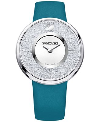 Swarovski Women's Swiss Crystalline Crystal Accent Green-Blue Leather Strap Watch 40mm