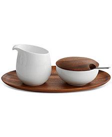 Nambé Skye Dinnerware Collection by Robin Levien 5-Pc. Lidded Sugar & Creamer Tray Set