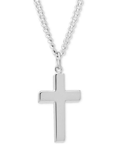 Religious necklaces macys simple cross pendant necklace in sterling silver mozeypictures Image collections