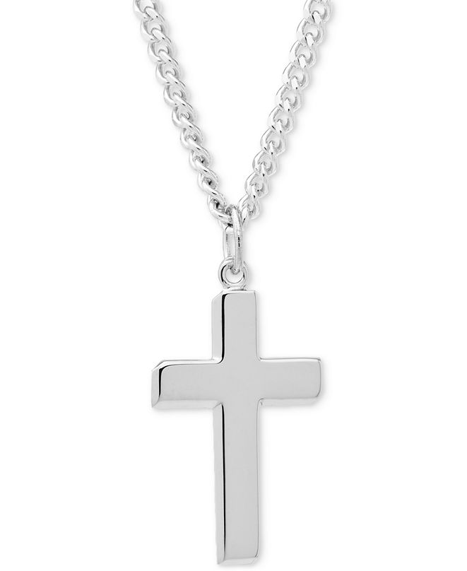 Macy's Simple Cross Pendant Necklace in Sterling Silver