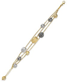 Tri-Tone 18k Gold-Plated Sterling Silver Triple-Strand Bracelet 777966SWGBS8