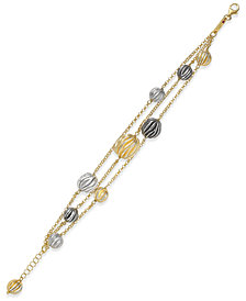 The Fifth Season by Roberto Coin Tri-Tone 18k Gold-Plated Sterling Silver Triple-Strand Bracelet 777966SWGBS8