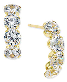 Cubic Zirconia Curved Drop Earrings in 10K Gold