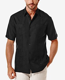 Short-Sleeve Embroidered Guayabera Shirt