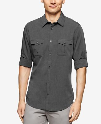 Calvin Klein Men's Chambray Double-Pocket Long-Sleeve Shirt ...