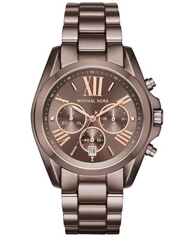 Michael Kors Women S Chronograph Bradshaw Sable Ion Plated Stainless Steel Bracelet Watch 43mm Mk6247