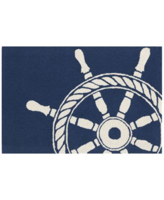 Liora Manne Front Porch Indoor/Outdoor Ship Wheel Navy 2'6'' x 4' Area Rug