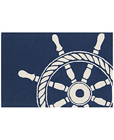Liora Manne Front Porch Indoor/Outdoor Ship Wheel Navy Area Rug