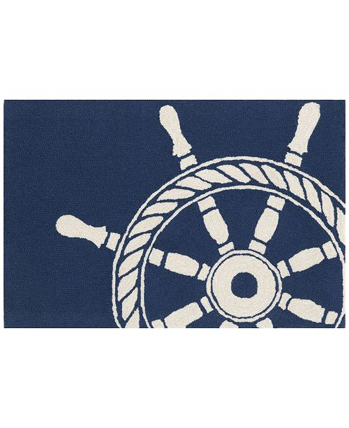 Liora Manne' Liora Manne Front Porch Indoor/Outdoor Ship Wheel Navy 2'6'' x 4' Area Rug