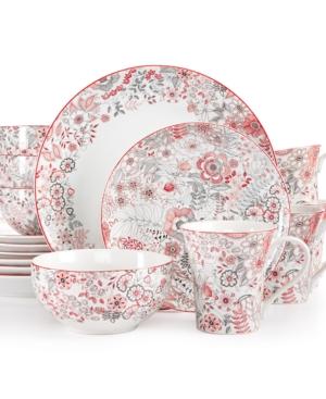222 Fifth 16-Pc. Evangeline Red Dinnerware Set