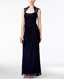 Stand-Collar Illusion Back Gown