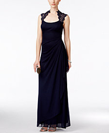 X by Xscape Stand-Collar Illusion Back Gown