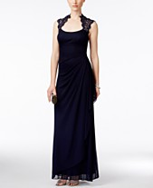 61ef865464f2 X by Xscape Stand-Collar Illusion Back Gown