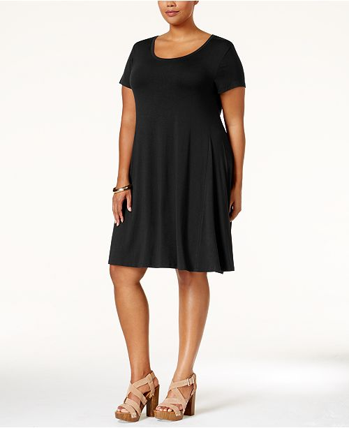 Style & Co Plus Size Short-Sleeve Swing Dress, Created for Macy\'s ...