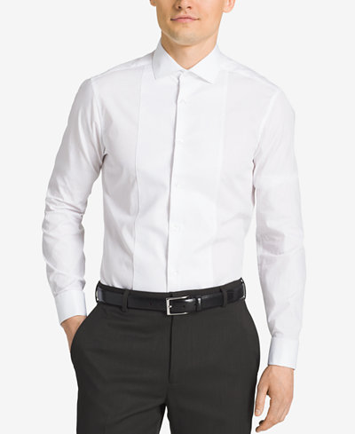 Calvin klein steel men 39 s slim fit french cuff tuxedo shirt for Tuxedo shirts for men