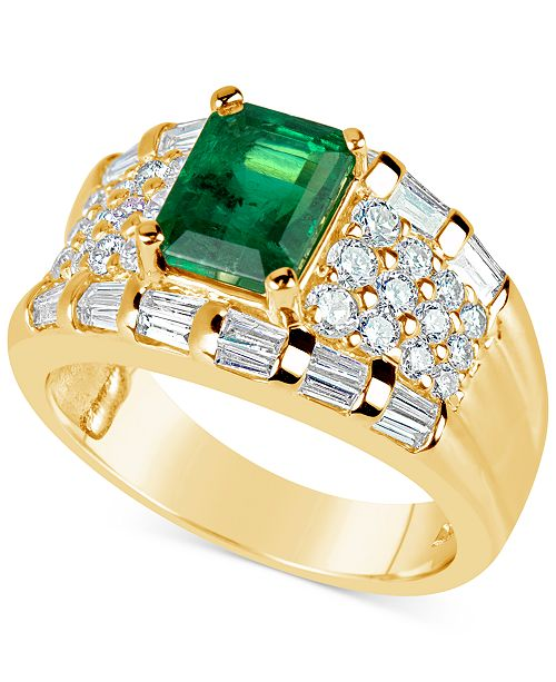 Macy's Emerald (1-2/3 ct. t.w.) and Diamond (1-1/6 ct. t.w.) Ring in 14k Gold