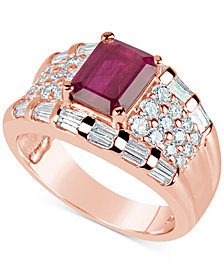 Ruby (1-3/4 ct. t.w.) and Diamond (1-1/6 ct. t.w.) Ring in 14k Rose Gold