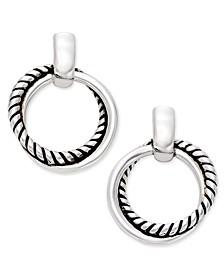 Silver-Tone Small Twisted Link Drop Hoop Earrings