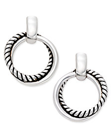 Lauren Ralph Lauren Silver-Tone Small Twisted Link Drop Hoop Earrings