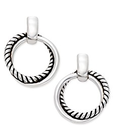 Lauren Ralph Lauren Silver-Tone Small Twisted Link Drop Hoop Earrings