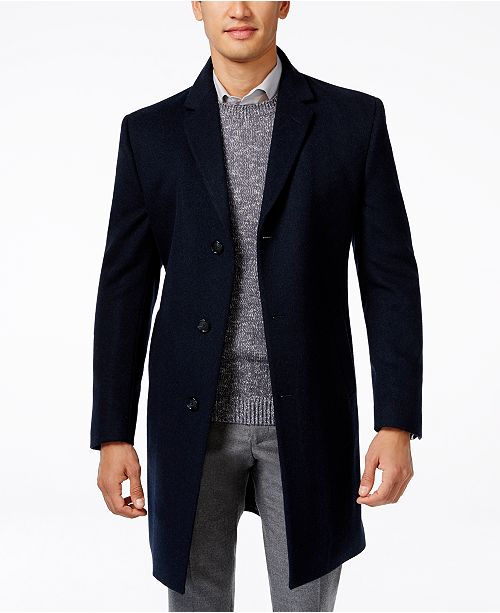 Kenneth Cole Raburn Wool-Blend Over Coat Slim-Fit