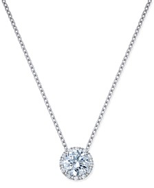 Swarovski Zirconia Halo Pendant Necklace in Sterling Silver