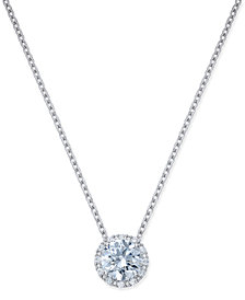 Arabella Swarovski Zirconia Halo Pendant Necklace in Sterling Silver