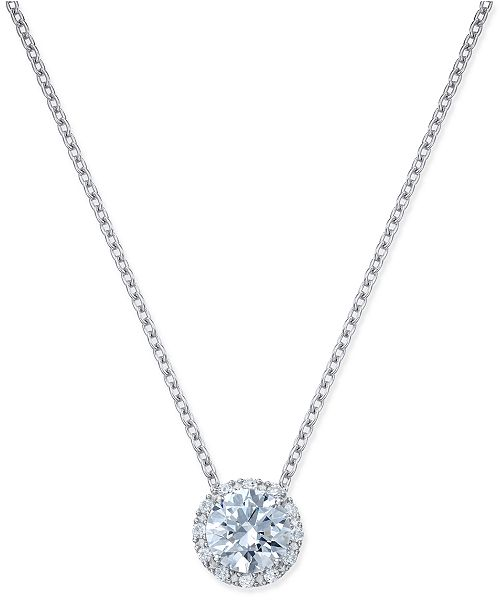Arabella Swarovski Zirconia Halo Pendant Necklace in Sterling Silver ... 642e38c143