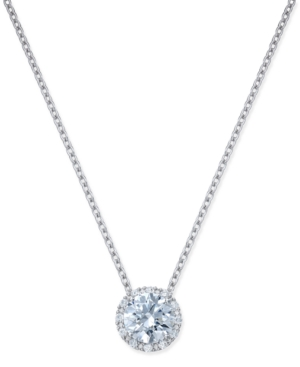 Cubic Zirconia Halo Pendant Necklace in Sterling Silver