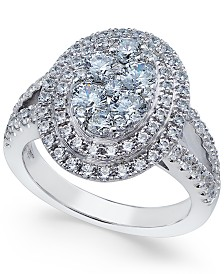 Arabella Swarovski Zirconia Oval Cluster Ring in Sterling Silver, Created for Macy's