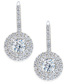 Arabella Swarovski Zirconia Circle Cluster Drop Earrings in Sterling Silver, Created for Macy's